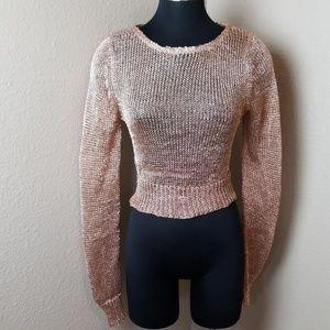 Lulus Rose Gold Metallic Open Weave Crop Top